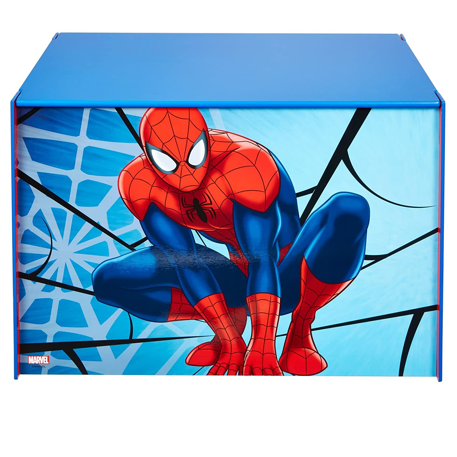Marvel Spider-Man Kids Toy Box - Childrens Bedroom Storage Chest with Bench Lid by HelloHome Worlds Apart 474SIA
