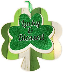 Shamrock Decor Wooden Sign Irish Hanging St Patricks Day Decorations for The Home Front Door Hanger Glittery Saint Outdoor Office Room Wall Art Wood Clover Porch Outside Lucky & Blessed