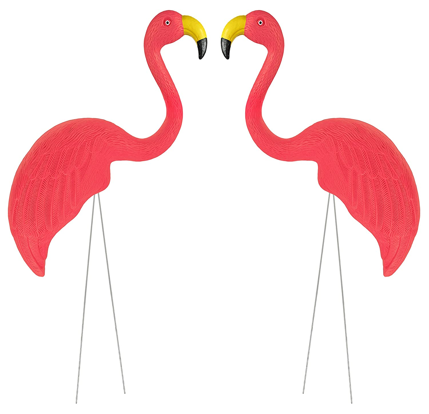 Includes 2 Metal 16.5 Stakes for Flamingo Give Your Lawn a Retro Throwback Look or Flock Your Friends! Pink 16.5x5 Garden Flamingos