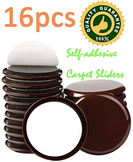 Liyic 16 PACK 3 1/2 Inch Brown Self Adhesive Furniture Sliders For