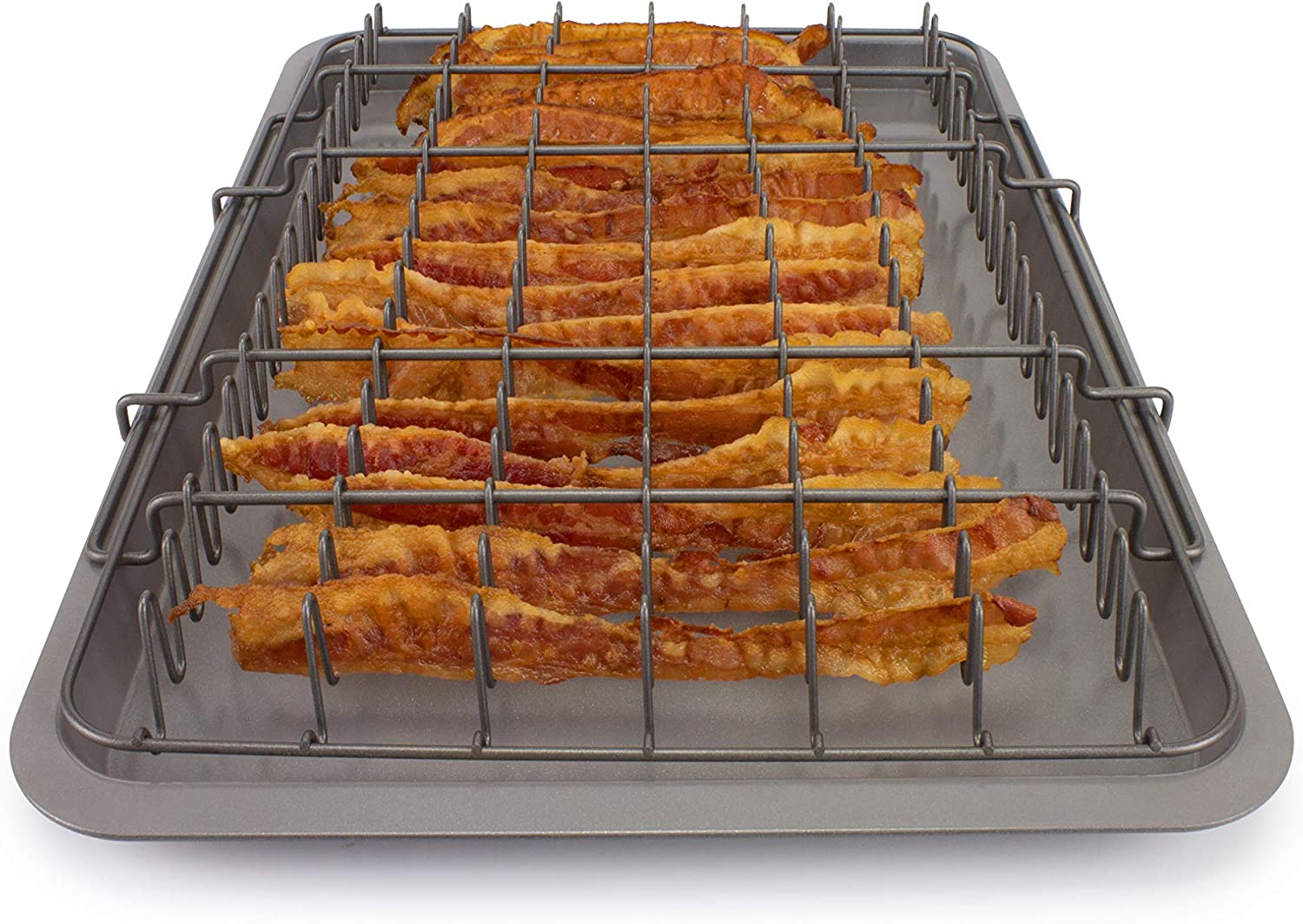 EaZy MealZ Bacon Rack & Tray Set XL Grey, Family Size for 2-5
