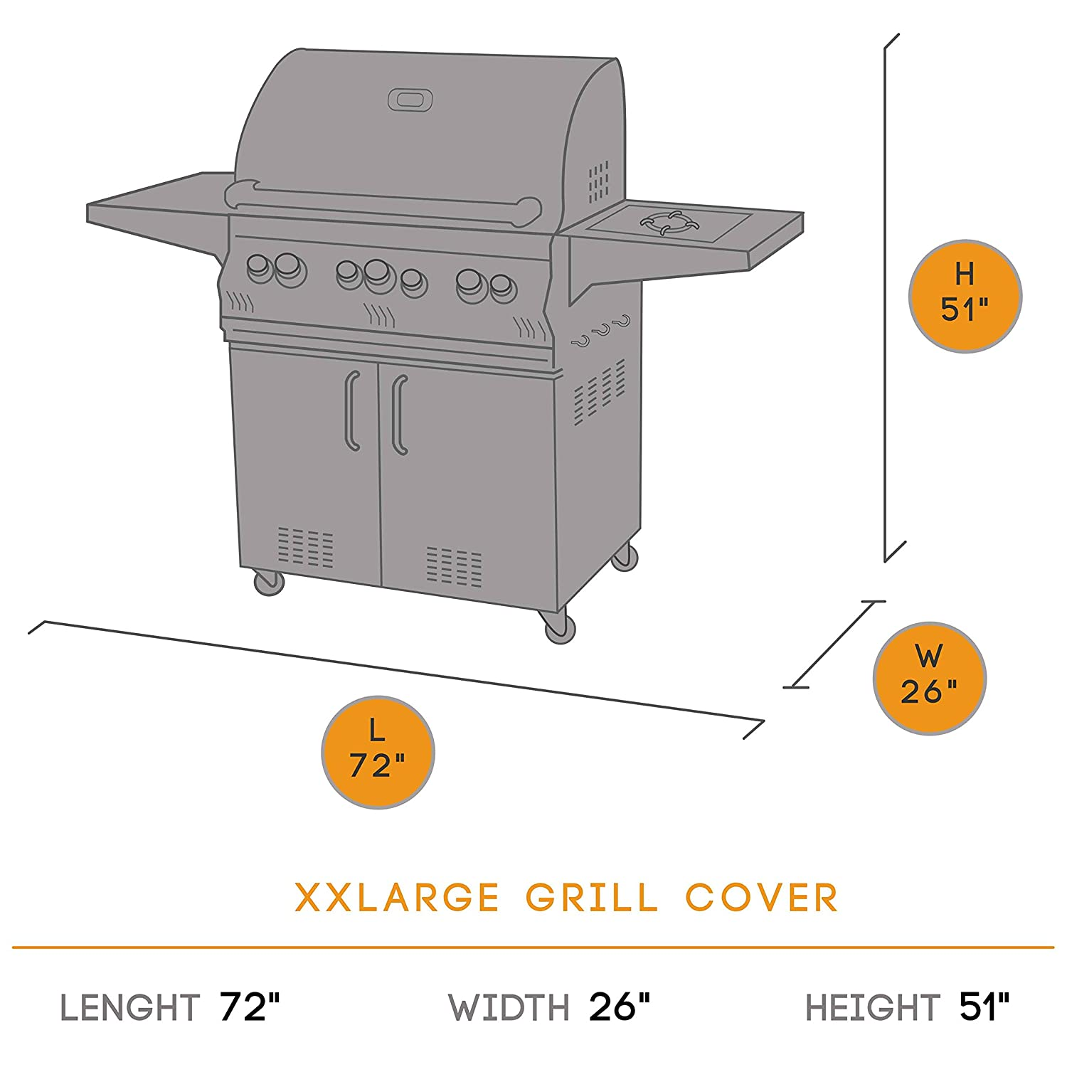 KHOMO GEAR TITAN Series, Waterproof Heavy Duty BBQ Grill Cover, Grey Medium 58 x 24 x 48, Different, Compatible with Weber (Genesis), Holland, Jenn Air, Brinkmann, Char Broil, Kenmore and More BBQ-Grey-M