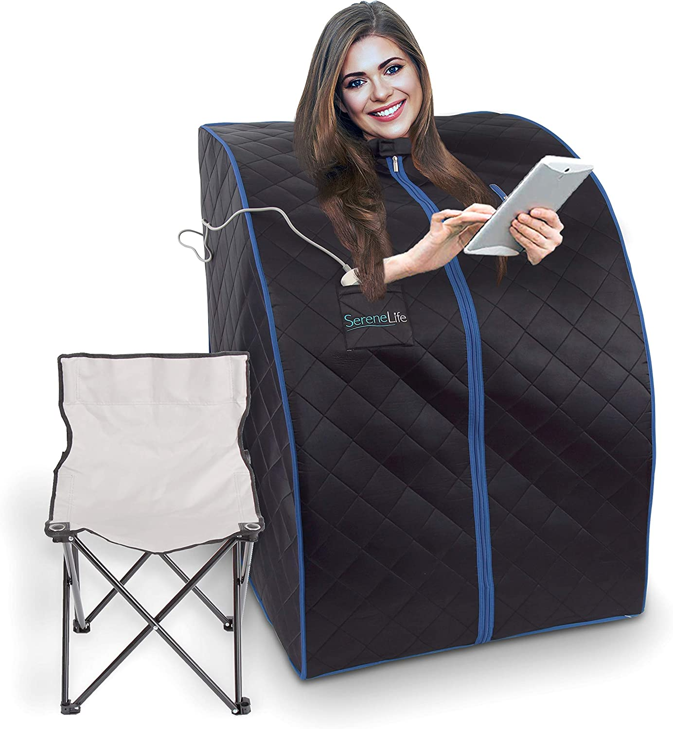 SereneLife Oversize Portable Infrared Home Spa | One Person Sauna | with Heating Foot Pad & Portable Chair, SLISAU20BK, Black