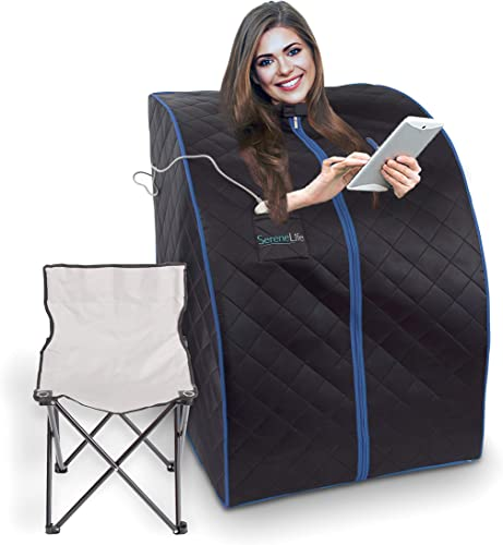SereneLife Oversize Portable Infrared Home Spa One Person Sauna with Heating Foot Pad Portable Chair