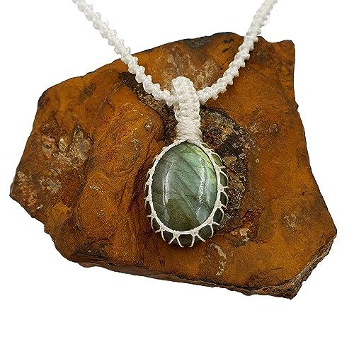 Labradorite Crystal Macrame Pendant and Necklace