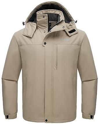 Wantdo Men s Hooded Skiing Jacket Mountaineering Insulated Rainwear Outdoor  Windproof Snow Coat for Hiking(Khaki 352a8beea