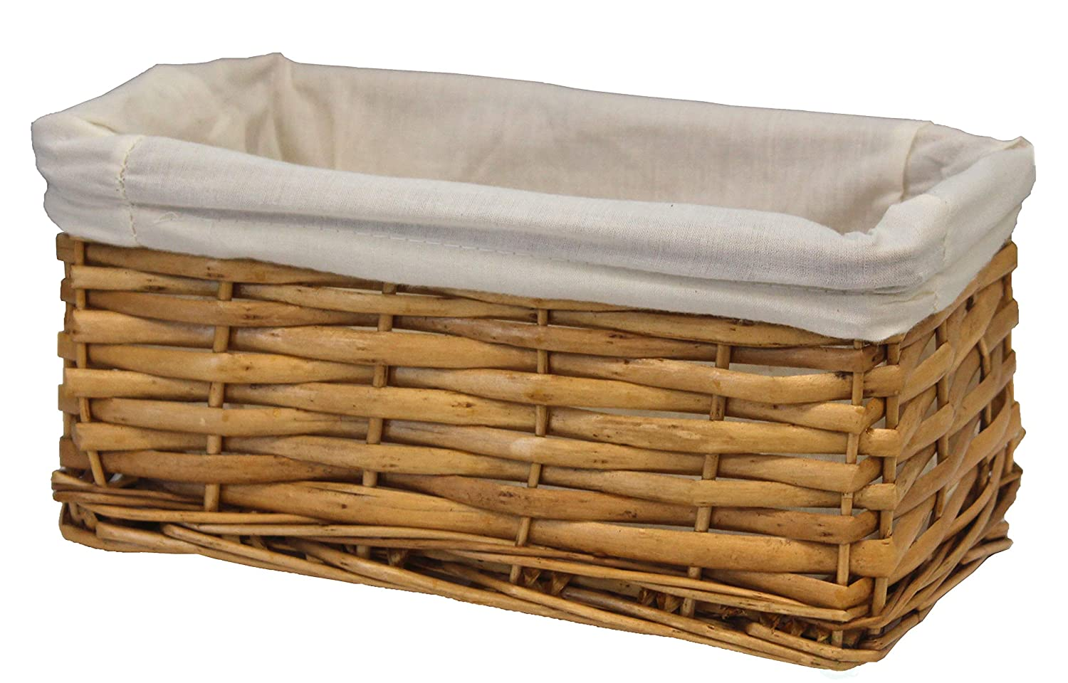 Vintiquewise Willow Shelf Basket Lined with White Lining (Set of 3 Small Baskets) Quickway Imports QI003052.3