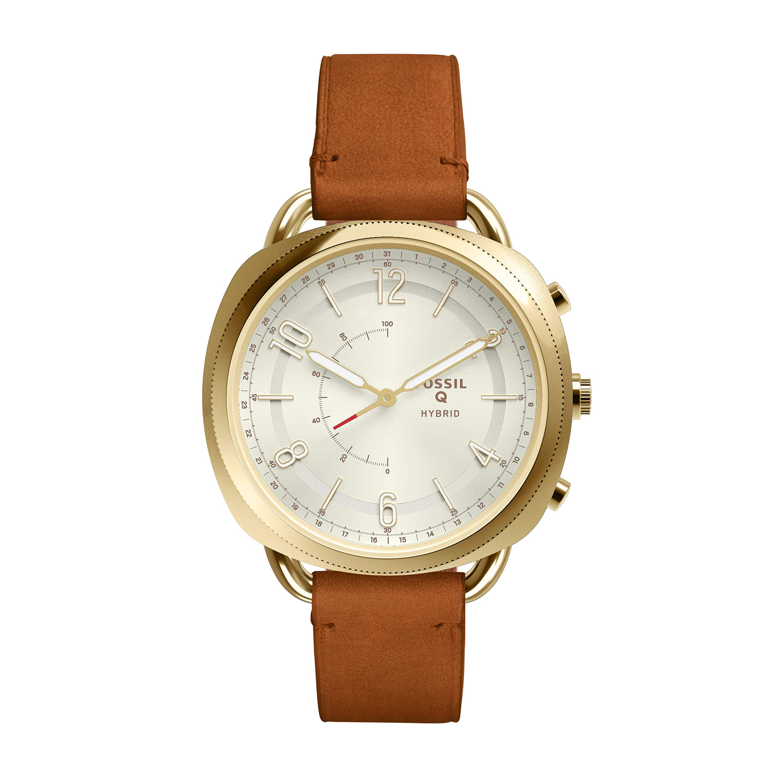 Fossil Women's Accomplice Stainless Steel and Leather Hybrid Smartwatch, Color: Gold, Tan (Model: FTW1201) by Fossil