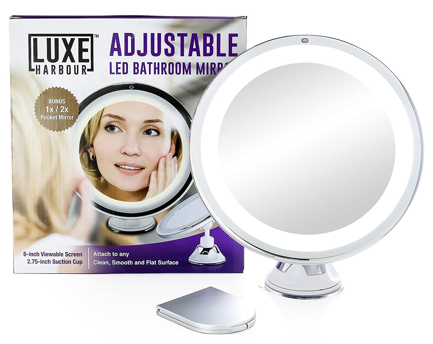 Amazon.com : Luxe Harbour Lighted Makeup Mirror   7x Magnification U0026  Adjustable Locking Suction Cup   Travel Vanity, Modern Tap Light Magnifying  Bathroom, ...
