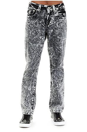 d9dd6d3ea8f True Religion Men's Straight Leg Relaxed Fit Acid Wash Jeans w/Flaps (Black  Soot