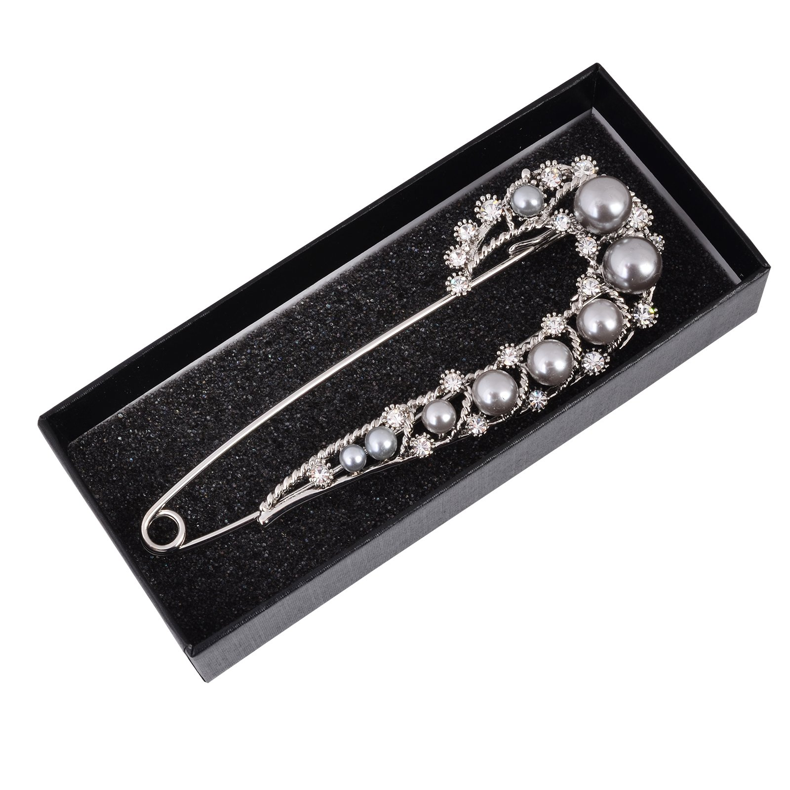 Fenni Retro Crystal Pearl Extra Large Safety Pins Scarf Cardigan Sweater Kilt Pin Brooch Women Jewelry (Silver) by Fenni (Image #4)