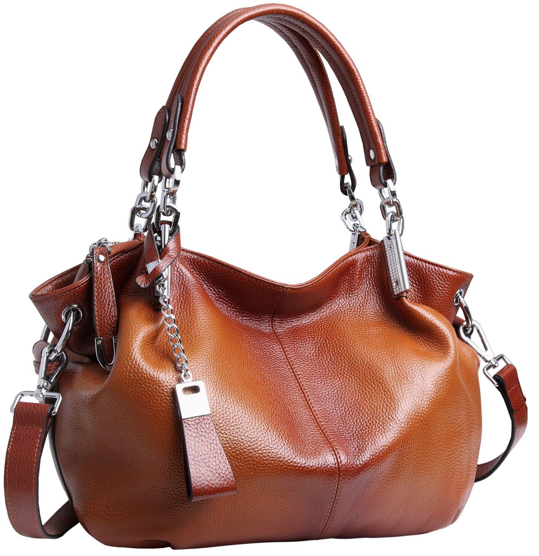 Heshe Womens Leather Handbags Ladies Designer Purse Tote Bag Top Handle Bag Hobo Bag Shoulder Bag Cross Body Bag (Sorrel)