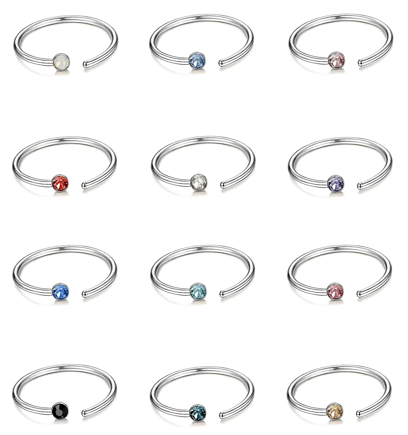 ORAZIO 5-12Pcs 20G Stainless Steel Nose Ring Hoop CZ Body Ear Piercing 5 Mixed Colors ORAIZO CC07-8