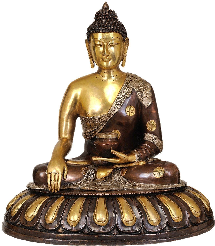 CraftVatika 29 Inches Large Brass Buddha Statue Earth Touching Pose Unique Thai Buddhism Big Sculpture- Bhumisparsha Mudra Idol by CraftVatika