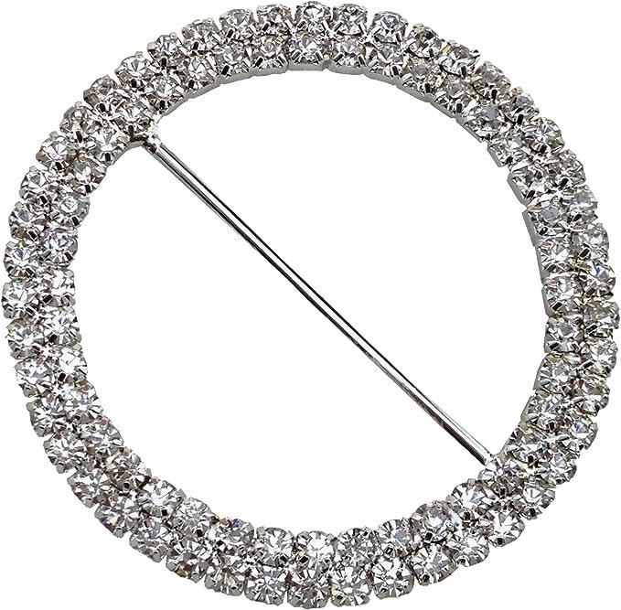 10x Diamante Rhinestone Round Buckle Invitation Ribbon Slider Silver 5mm