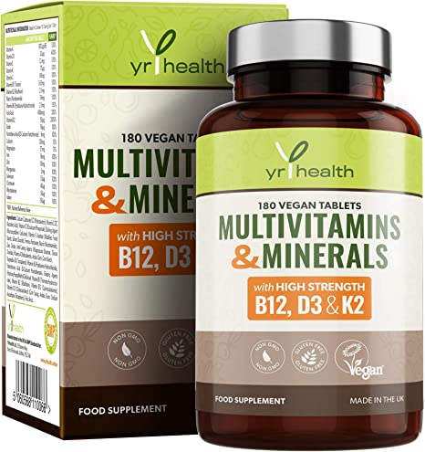 Vegan Multivitamins Minerals With Vitamin D3 K2 B12 And Iron