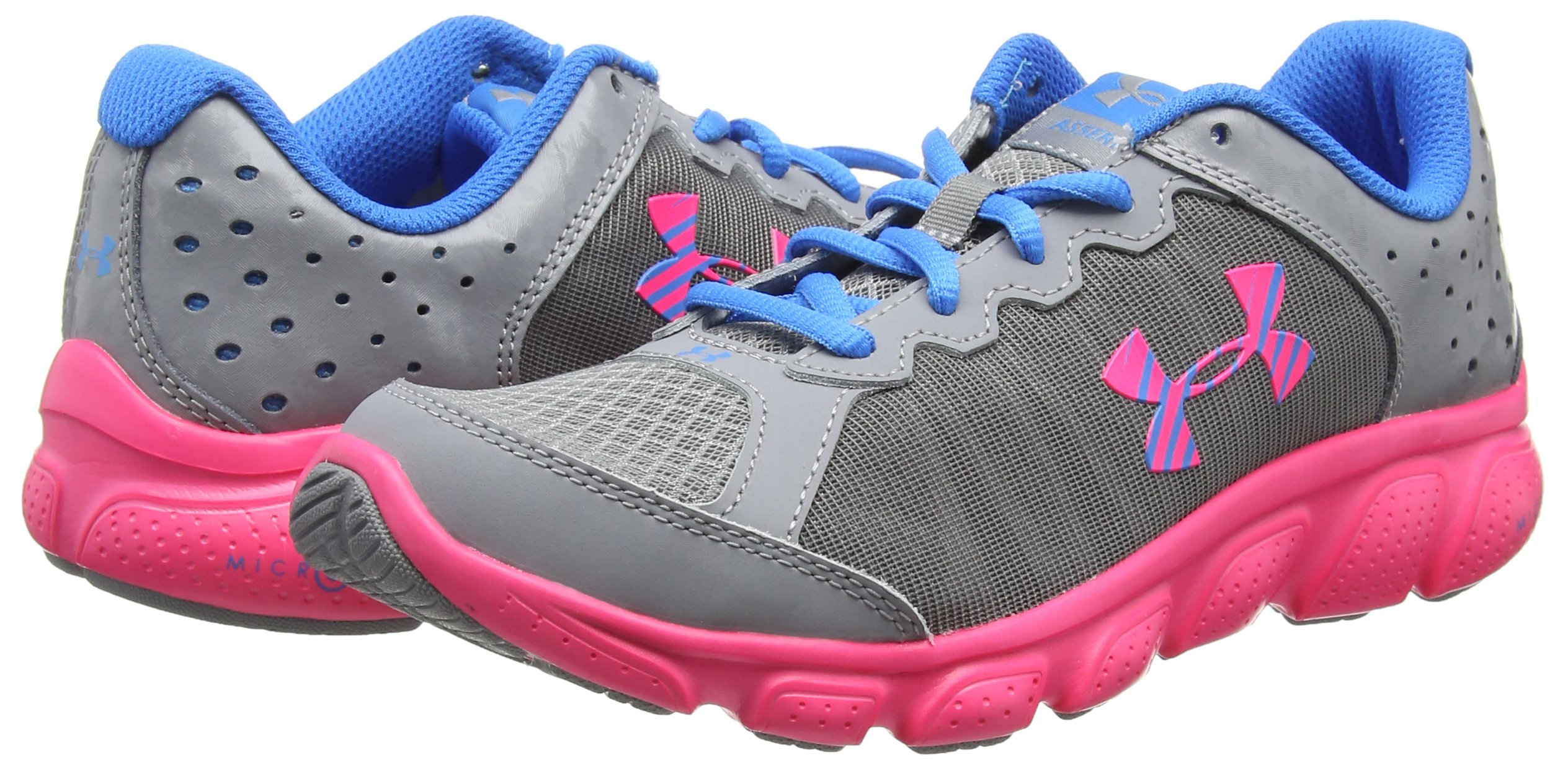 Under Armour Girls' Grade School Micro G Assert 6, Steel (036)/Harmony Red, 5.5 by Under Armour (Image #5)