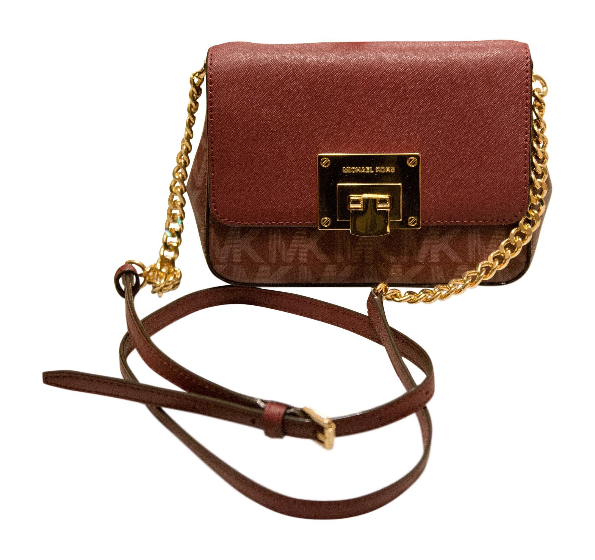 Michael Kors Tina Small Leather Clutch, Crossbody Shoulder Bag, Merlot