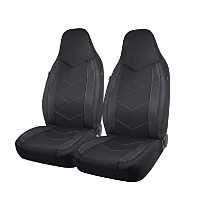 PIC AUTO High Back Car Seat Covers - Sports Carbon Fiber Mesh Design, Universal Fit, Airbag Compatible (Black): Automotive