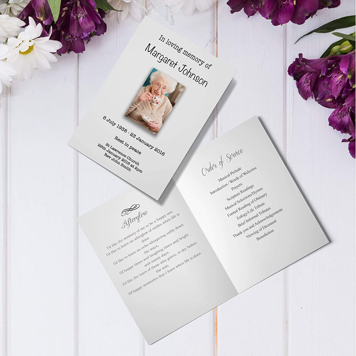 Personalised Memorial Funeral Order of Service Cards With