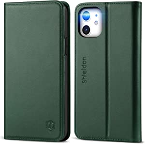 SHIELDON Case for iPhone 12/12 Pro, Genuine Leather Folio Wallet Magnetic Kickstand RFID Blocking Card Slots Shockproof Cover Compatible with iPhone 12 5G (6.1 Inch) - Midnight Green
