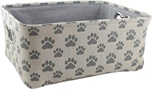 "Winifred & Lily Pet Toy and Accessory Storage Bin, Organizer Storage Basket for Pet Toys, Blankets, Leashes and Food in Printed ""Dog Paws"", Beige/Grey"