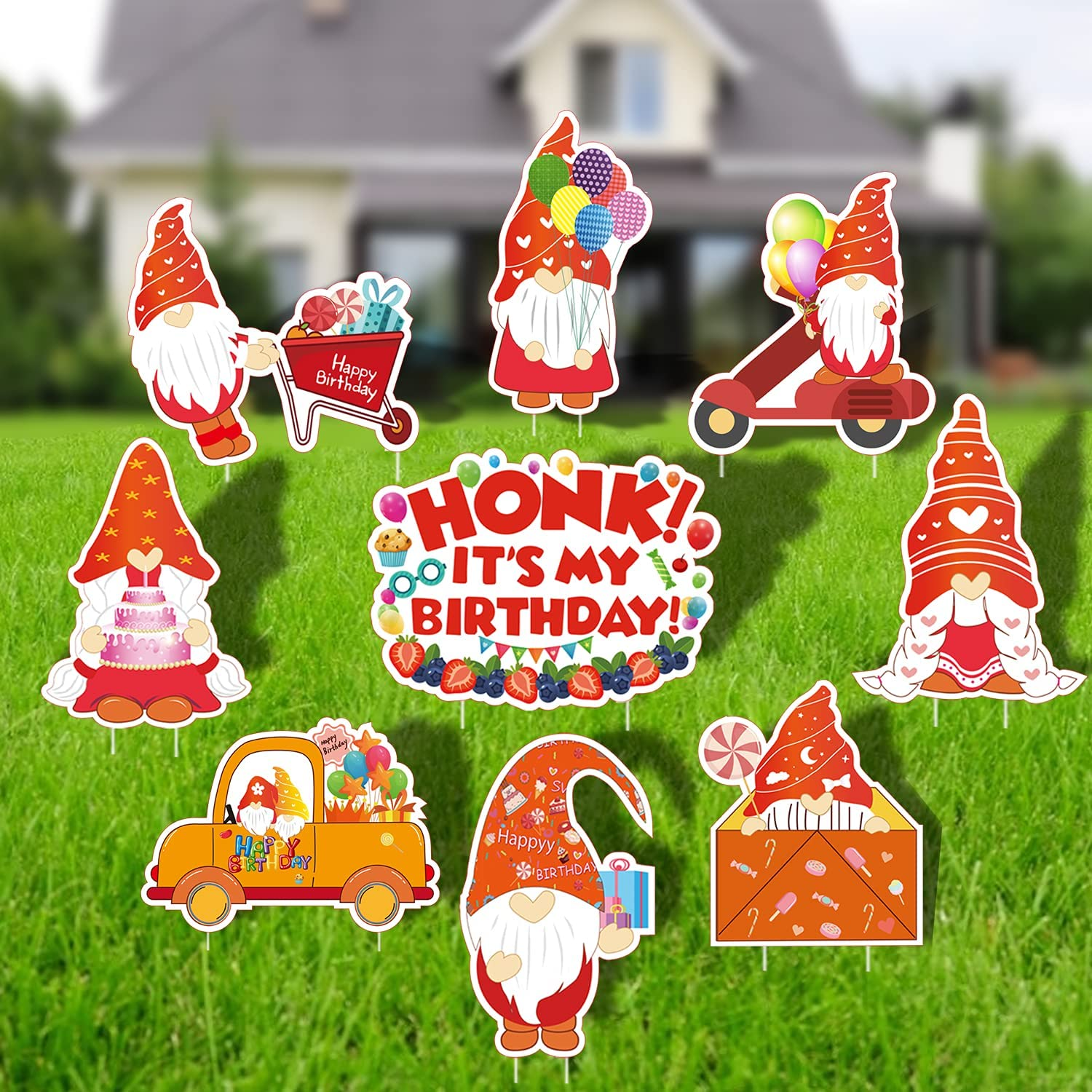 Birthday Decoration Yard Signs - 9pcs Big Size Outdoor Gnome Waterproof Lawn Sign with Stakes, Birthday Cake, Gift, Balloon, Envelope, Candy for Colorful Happy Birthday Party Garden Decor Ornaments