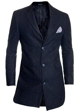 D&R Fashion Elegante Abrigo de los Hombres Chaqueta Larga 3/4 Cachemira Tela Suave Invierno