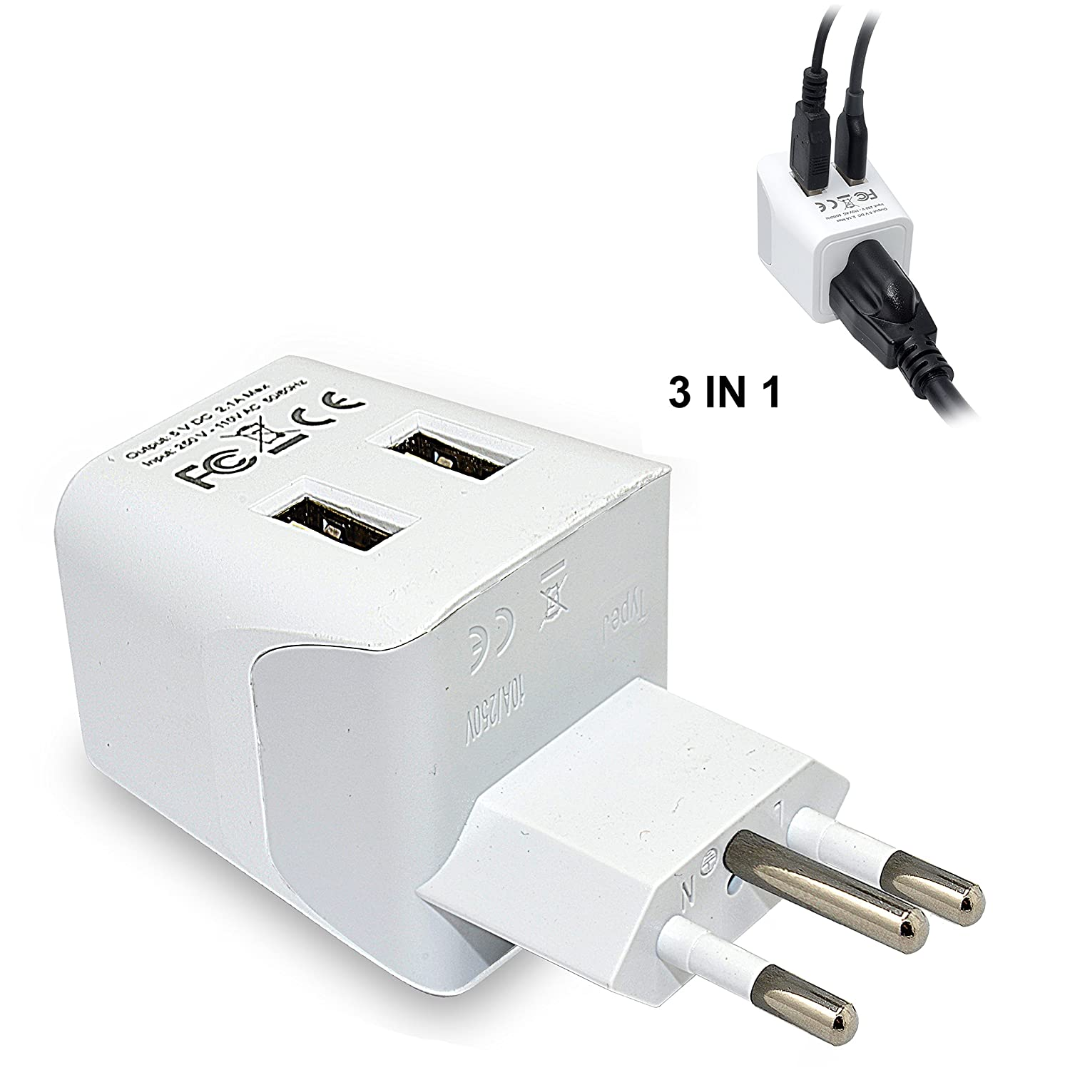 Ceptics CTU-7 USA to UK, Hong Kong Travel Adapter Plug with Dual USB - Type G - Ultra Compact