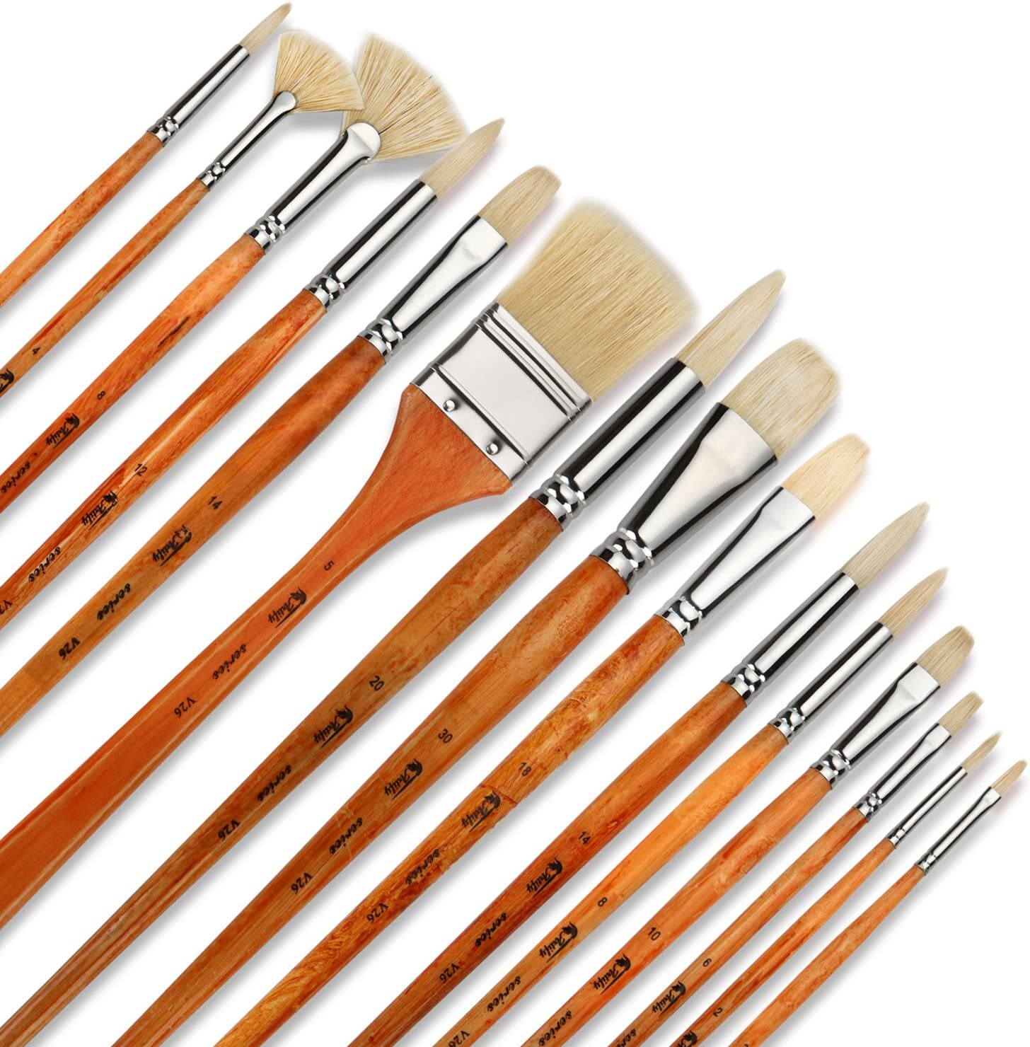 Artify 15 pcs Professional Paint Brush Set Perfect for Oil Painting with a Free Carrying Box