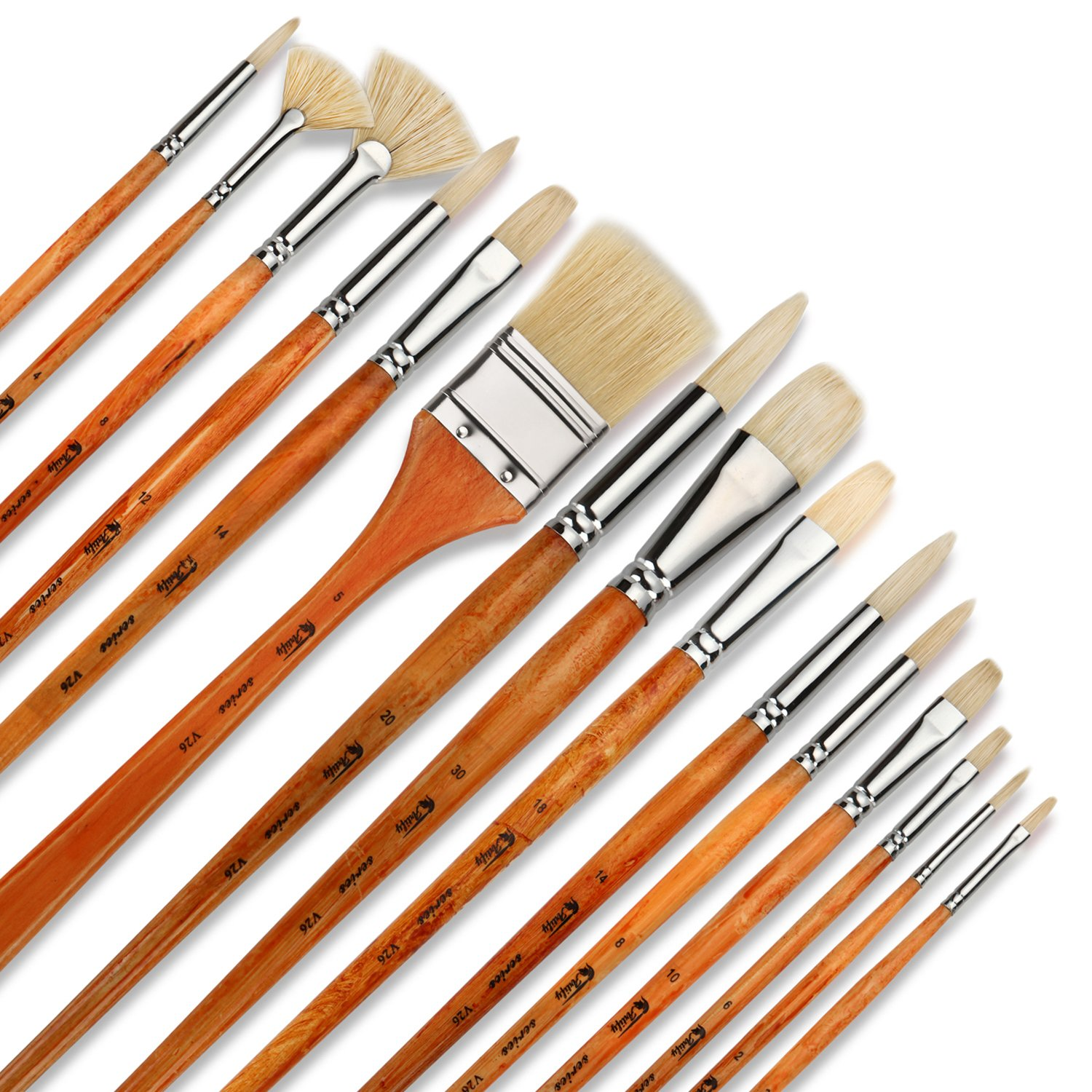 Artify 15 pcs Professional Paint Brush Set Perfect for Oil Painting with a Free Carrying Box by Artify Art Supplies
