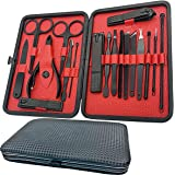 Manicure Set-18 in 1 Stainless Steel Nail Care Kit-Professional Pedicure Kit Nail Clipper Grooming Kit-Nail Scissors Set with