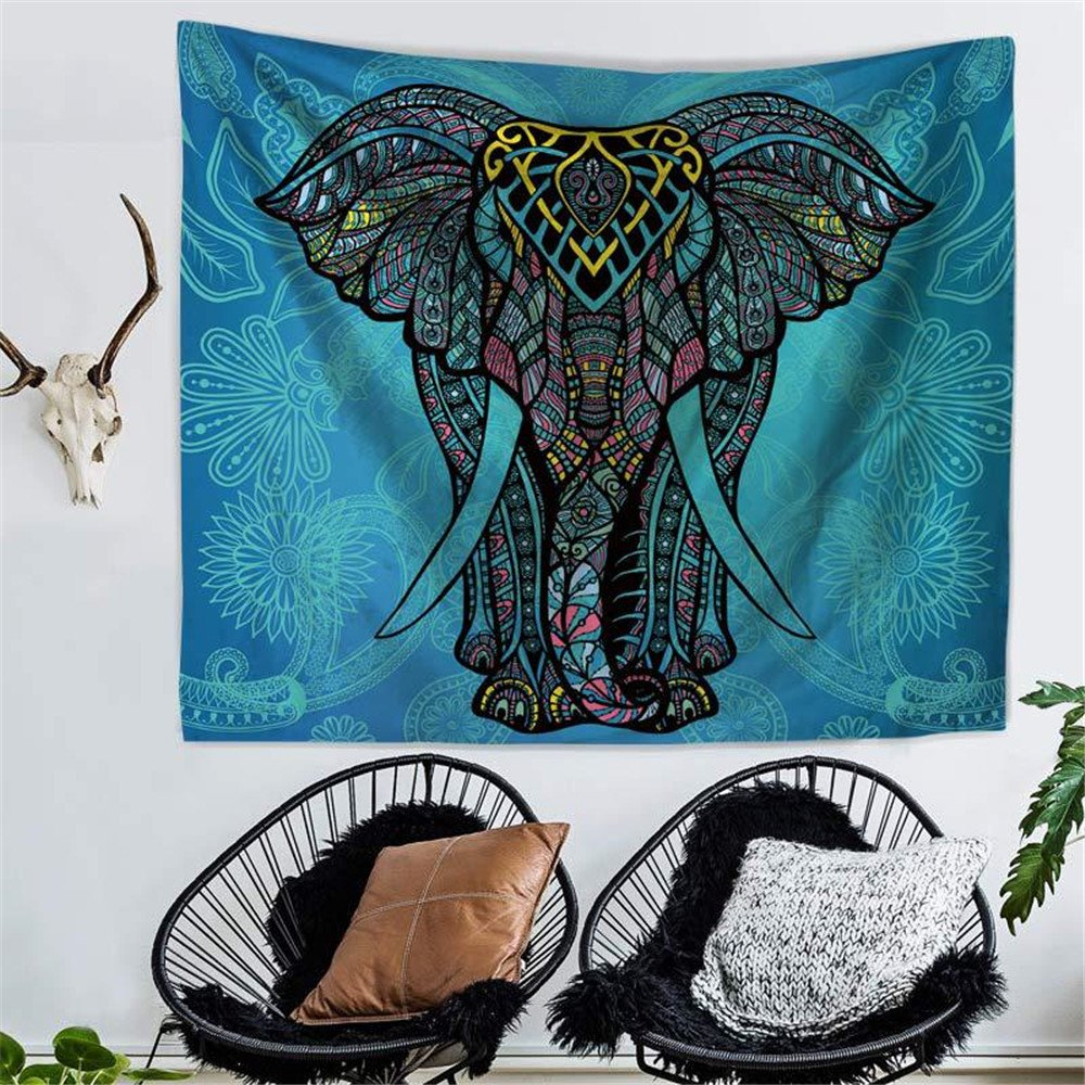 RFVBNM Tapestry,bedspread,Wall murals,Wall Decor Art,bed Cover,Room divider,curtain,tablecloth,Picnic blanket,Elephant Printed Tapestries Decorative Indian Wall Carpet Tapesty,200150cm