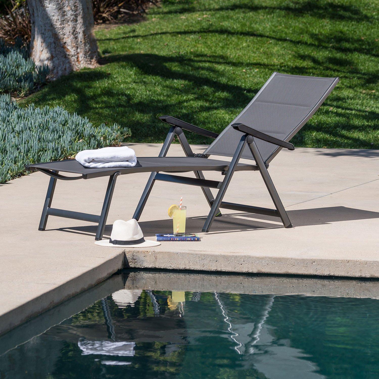 Hanover REGCHS-G-Gry Regis Padded Sling Chaise in Gray Outdoor Furniture
