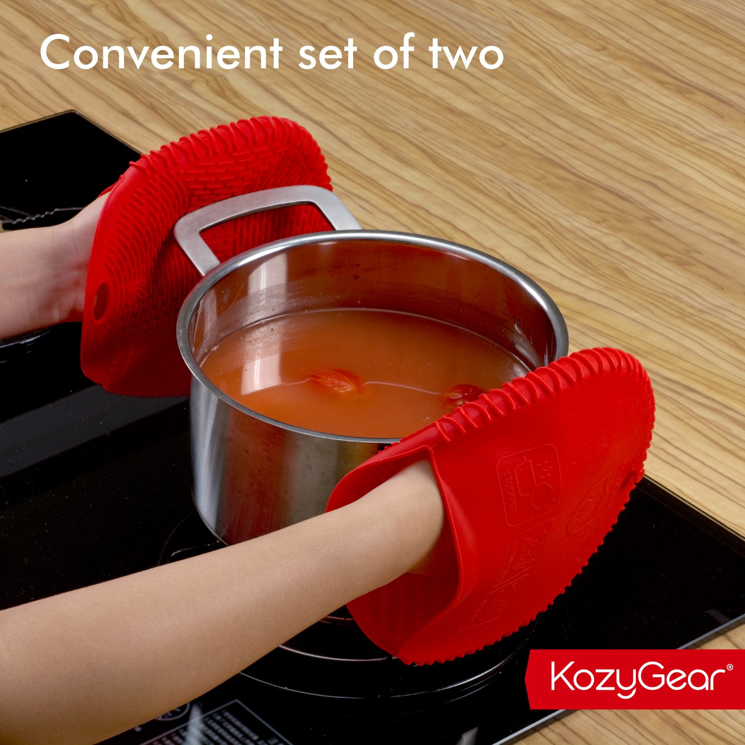 KozyGear Premium 442 °F Heat Resistant Silicone Glove Holder/Oven Mitt Pair Set for Hot Pot [Z4 Series] (RED) by KozyGear (Image #8)