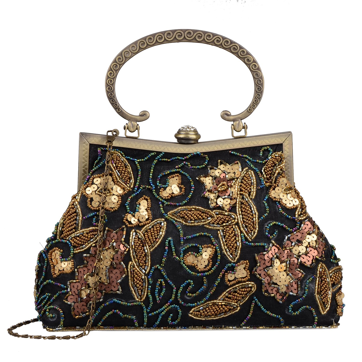 1920s Handbags, Purses, and Shopping Bag Styles Lifewish Women Vintage Sequins Beaded Evening Bag Embroidered Satin Top-handle Prom Formal Clutch $34.99 AT vintagedancer.com