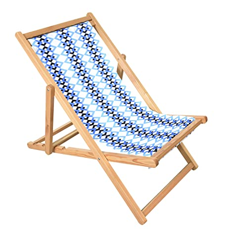 Beau Astella Adjustable Wooden Cabana Beach Chair, Multi Color Blue