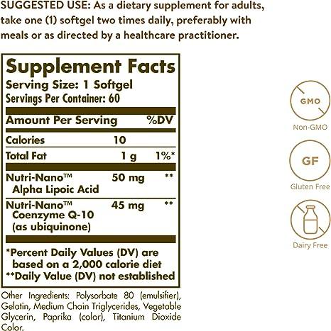 Solgar Nutri-Nano CoQ-10 con Ácido Alfa-Lipoico Cápsulas blandas - Envase de 60: Amazon.es: Salud y cuidado personal