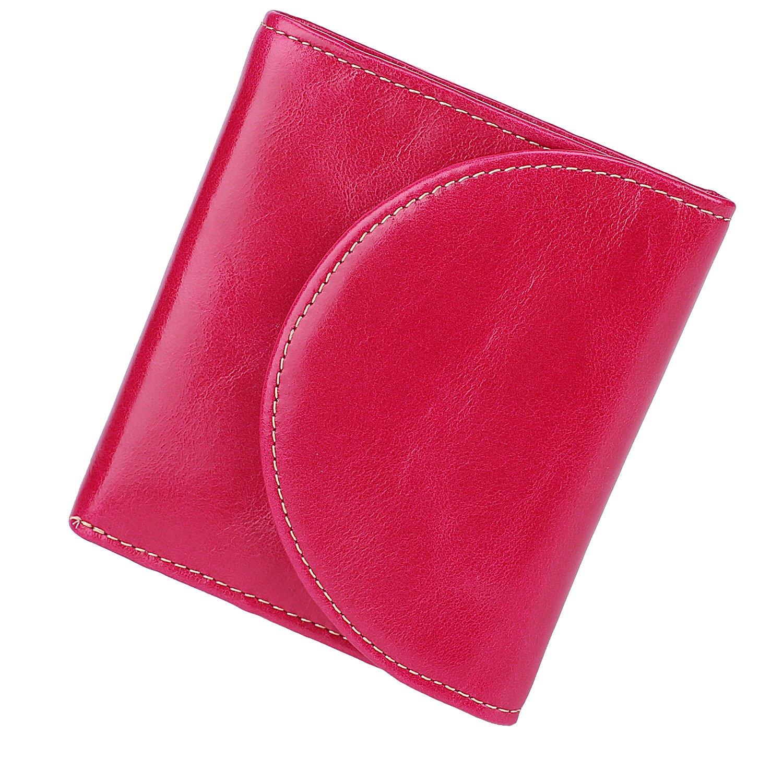 BIG SALE-AINIMOER Women's RFID Blocking Leather Small Compact Bi-fold Zipper Pocket Wallet Card Case Purse (Rose)