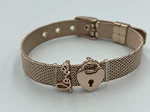 Stainless Steel Mesh Girls Women Charm Bracelet with tow charms