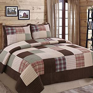 Cozy Line Home Fashions Brody Quilt Bedding Set, Chocolate Brown Plaid Grid Striped Real Patchwork,Reversible Coverlet, Bedspread Set for Men (Brown Grid, King - 3 Piece)