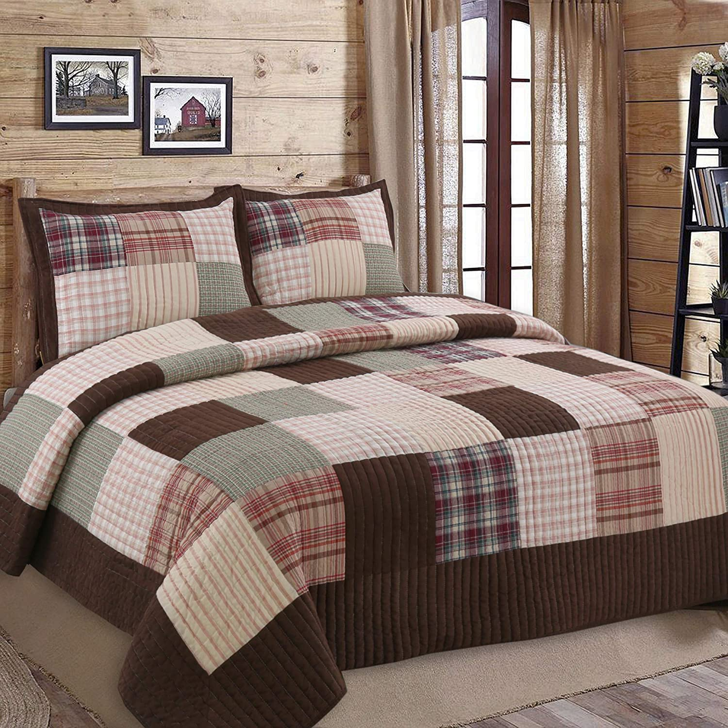 Cozy Line Home Fashions Brody Quilt Bedding Set, Chocolate Brown Plaid Grid Striped Real Patchwork,Reversible Coverlet, Bedspread Set for Men (Brown Grid, Twin - 2 Piece)