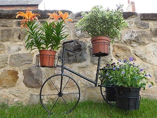 Negro metal bicicleta Porta macetas maceta de jardín a contenere 4 plantas en maceta: Amazon.es: Jardín