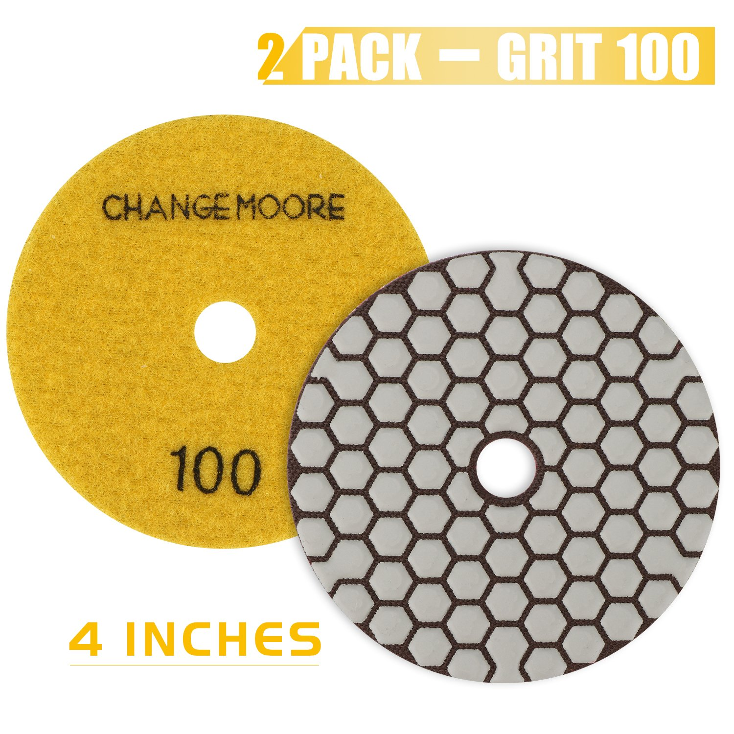 CHANGE MOORE Dry Diamond Polishing Pads 4'' for Marble Granite Travertine Terrazzo Concrete Stones, 2 pack-Grit 100 by CHANGE MOORE