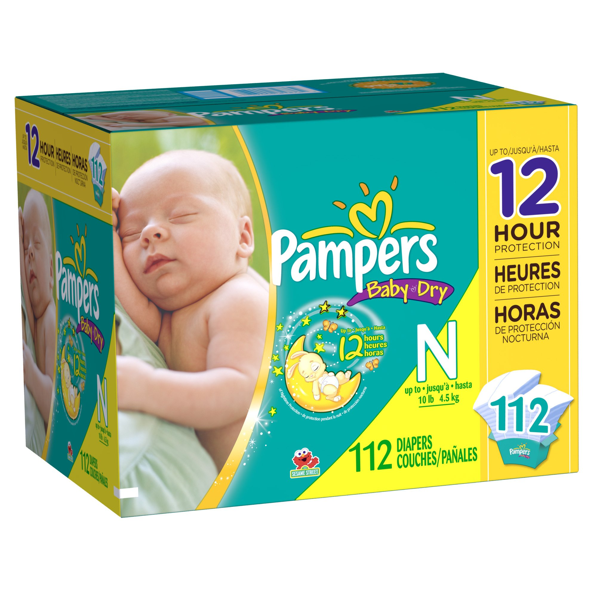 Pampers Baby Dry Diapers Super Pack, Newborn, 112 Count