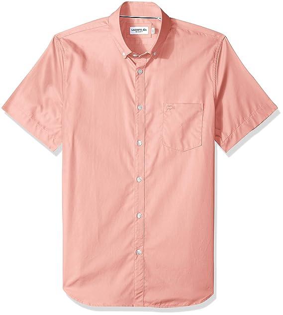 1176f3a5b Lacoste Men s Short Sleeve with Pocket Mini Pique Regular Fit Woven Shirt