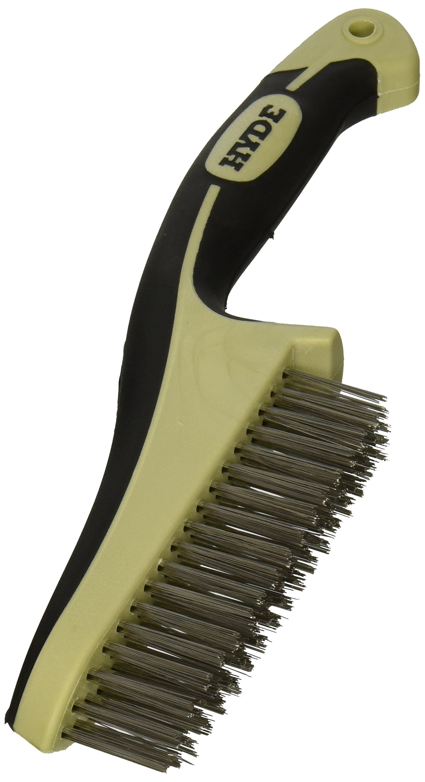 HYDE 46842 Stainless Steel Wire Brush with narrow profile, 11-inch, MAXXGRIP PRO by Hyde