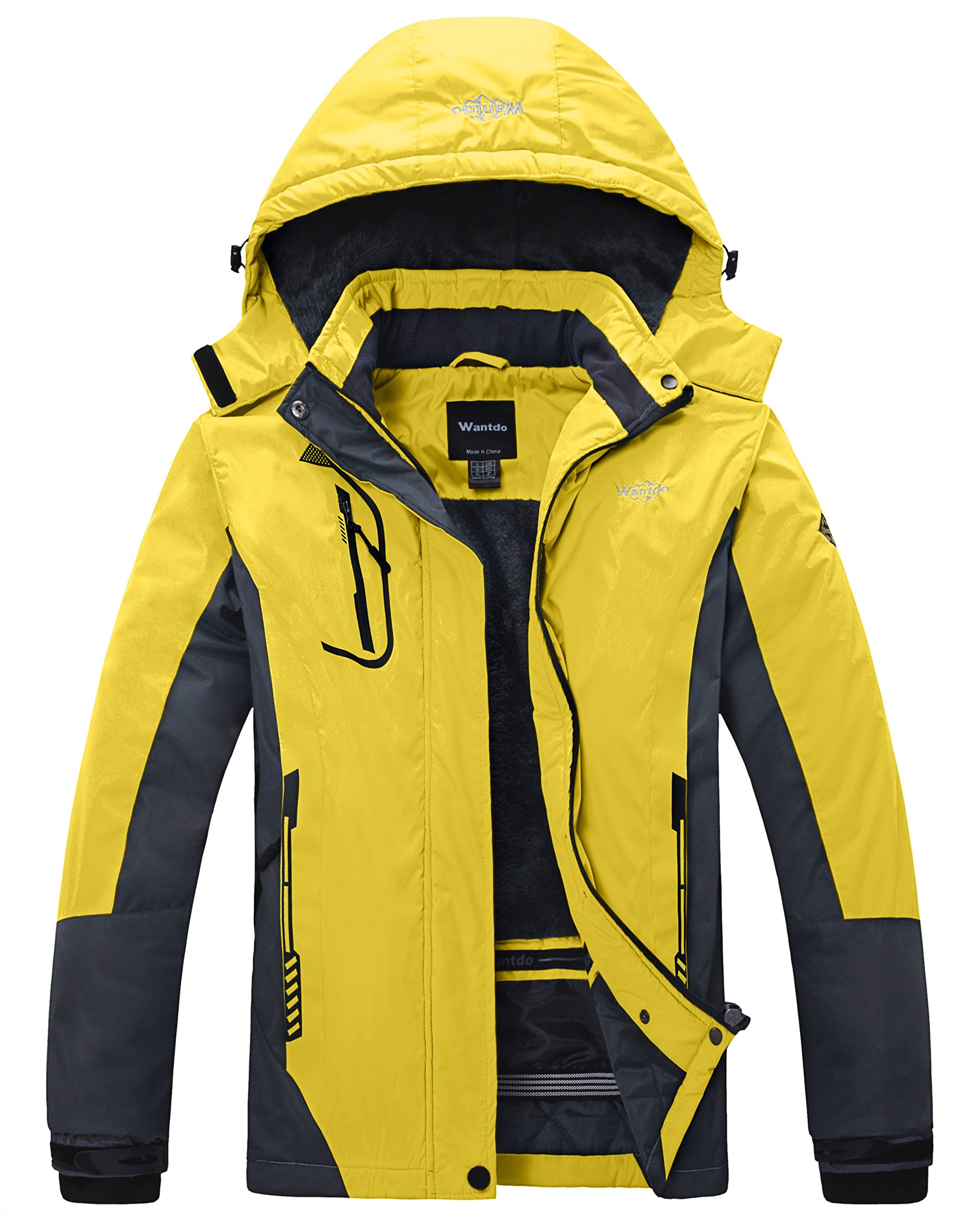 Wantdo Women's Mountain Waterproof Fleece Ski Jacket Windproof Rain Jacket US M Yellow