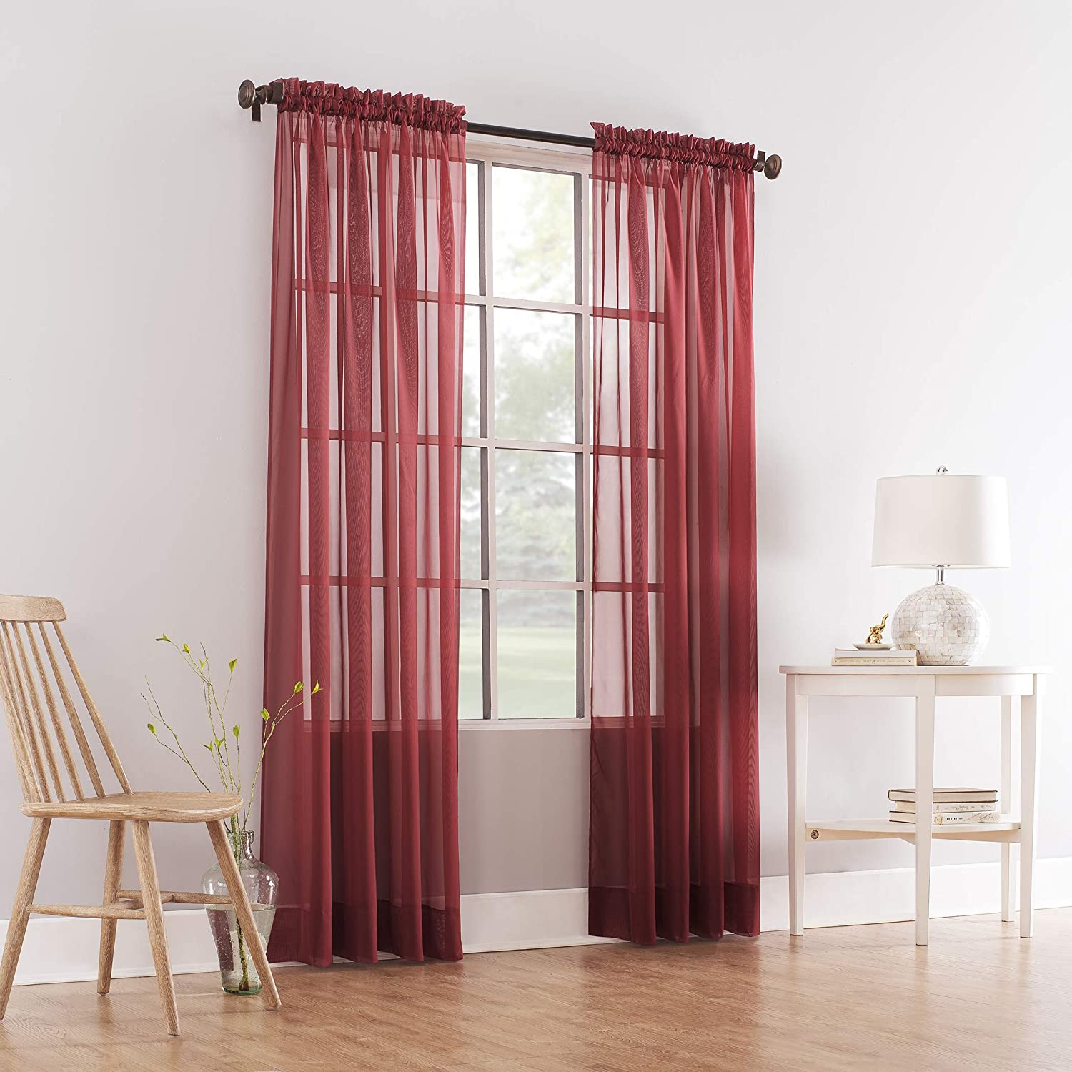 Comfy Deal 2 Pieces Beautiful Elegance Fully Stitched Window Sheer Voile Curtain Panel (Red)