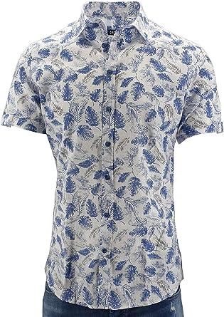 Camisa hombre media manga fantasía lino Bianco M: Amazon.es: Ropa y accesorios